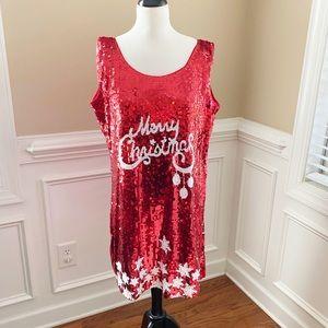 Women's Red Sequin Christmas Dress